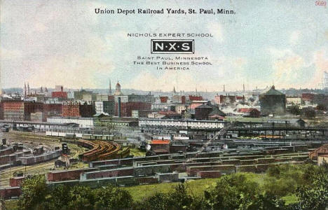 Union Depot Railroad Yards, St. Paul Minnesota, 1913