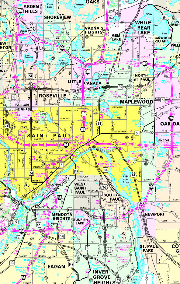 Minnesota State Highway Map of the St. Paul Minnesota area