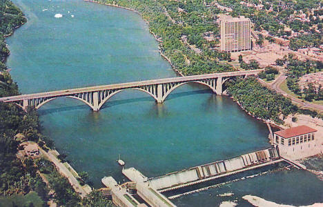 Lock & Dam #2 and Ford Bridge, St. Paul Minnesota, 1960's