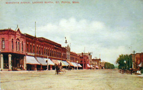 Minnesota Avenue looking north, St. Peter Minnesota, 1910