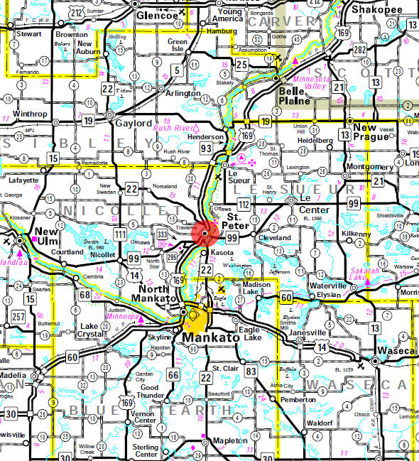 Minnesota State Highway Map of the St. Peter Minnesota area