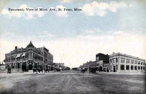 Panoramic View of Minnesota Avenue, St. Peter Minnesota, 1916