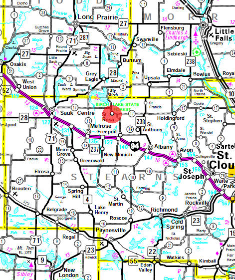 Minnesota State Highway Map of the St. Rosa Minnesota area
