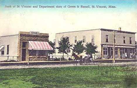 Bank of St. Vincent and Department Store of Green & Russell, St. Vincent Minnesota, 1910