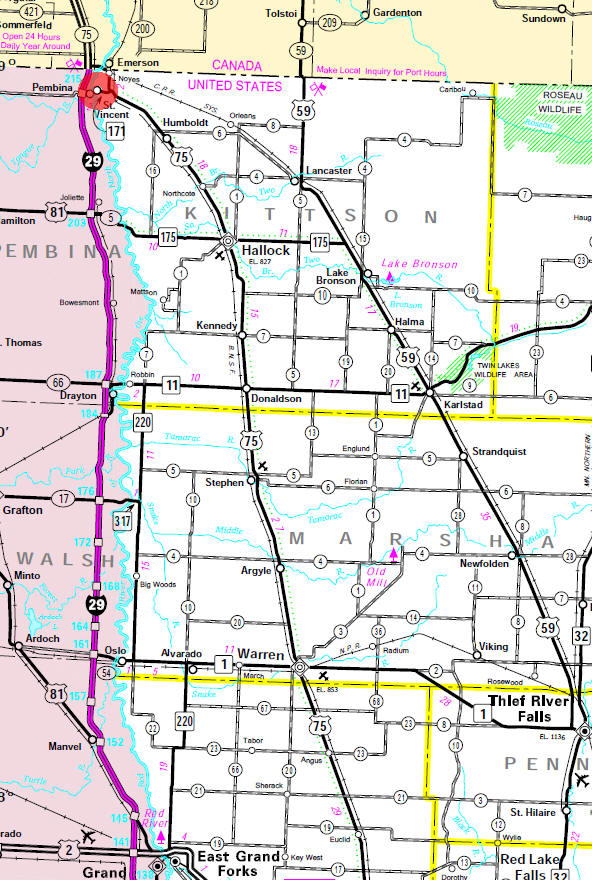 Minnesota State Highway Map of the St. Vincent Minnesota area