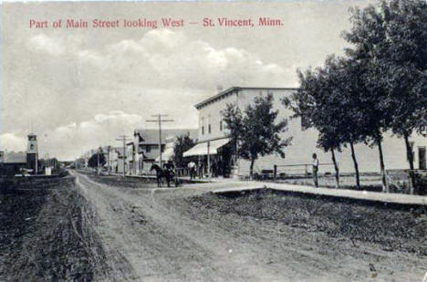 Main Street looking west, St. Vincent Minnesota, 1908
