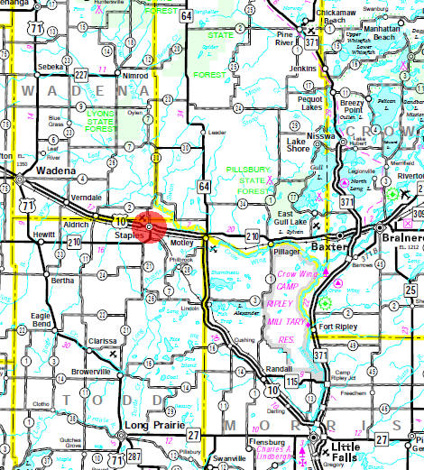 Minnesota State Highway Map of the Staples Minnesota area