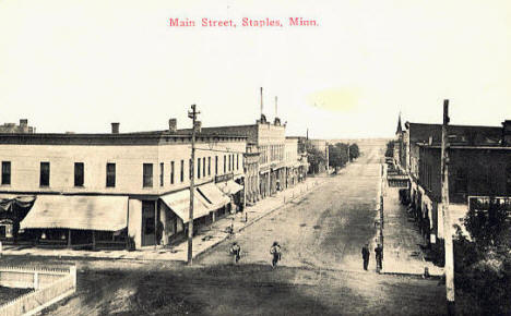 Main Street, Staples Minnesota, 1908