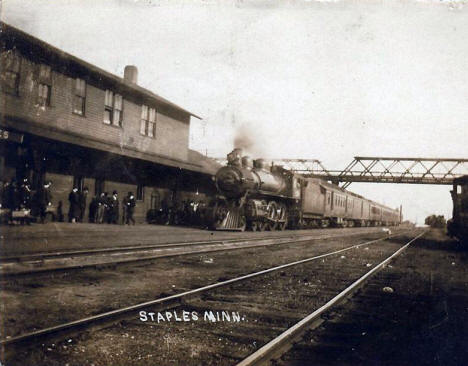 Train and Depot, Staples Minnesota, 1907