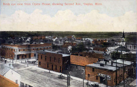 Birds eye view from Opera House showing 2nd Avenue, Staples Minnesota, 1909