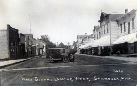 Main Street looking west, Starbuck, Minnesota, 1920's