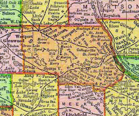 1895 Map of Stearns County Minnesota