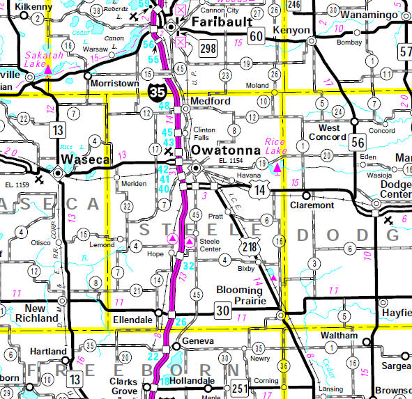 Minnesota State Highway Map of the Steele County Minnesota area