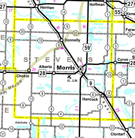 Minnesota State Highway Map of the Stevens County Minnesota area