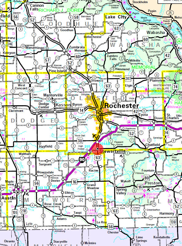 Minnesota State Highway Map of the Stewartville Minnesota area