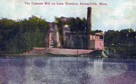 The Cussons Mill on Lake Florence, Stewartville Minnesota, 1913
