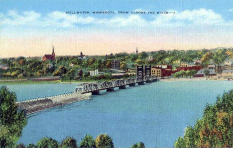 Stillwater Minnesota from across the St. Croix River, 1940's