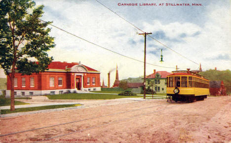 Carnegie Library and Streetcar, Stillwater Minnesota, 1907