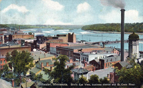 Birds eye view of Stillwater Business District and the St. Croix River, 1911