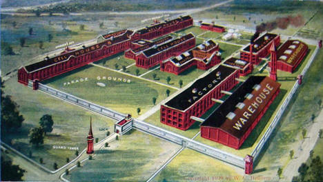 """Minnesota's New $2,500,000 State Prison now in the course of construction"", Stillwater Minnesota, 1909"