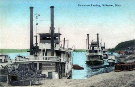 Steamboat Landing, Stillwater Minnesota, 1908
