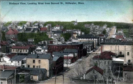 Birds eye view looking west from Second Street, Stillwater Minnesota, 1907
