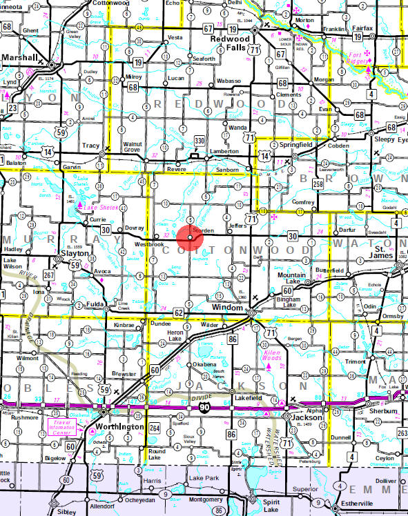 Minnesota State Highway Map of the Storden Minnesota area