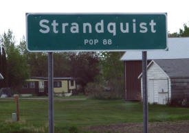 Strandquist Minnesota population sign