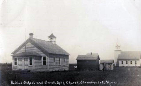 Public School and Swedish Lutheran Church, Strandquist Minnesota, 1900's
