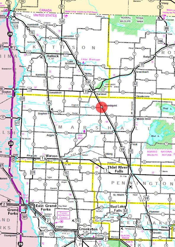 Minnesota State Highway Map of the Strandquist Minnesota area
