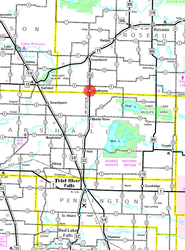 Minnesota State Highway Map of the Strathcona Minnesota area