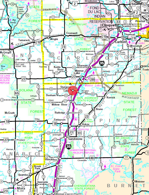Minnesota State Highway Map of the Sturgeon Lake Minnesota area