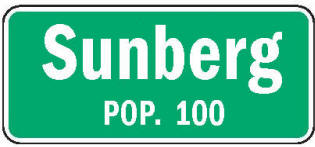 Sunburg Minnesota population sign
