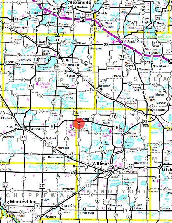 Minnesota State Highway Map of the Sunburg Minnesota area