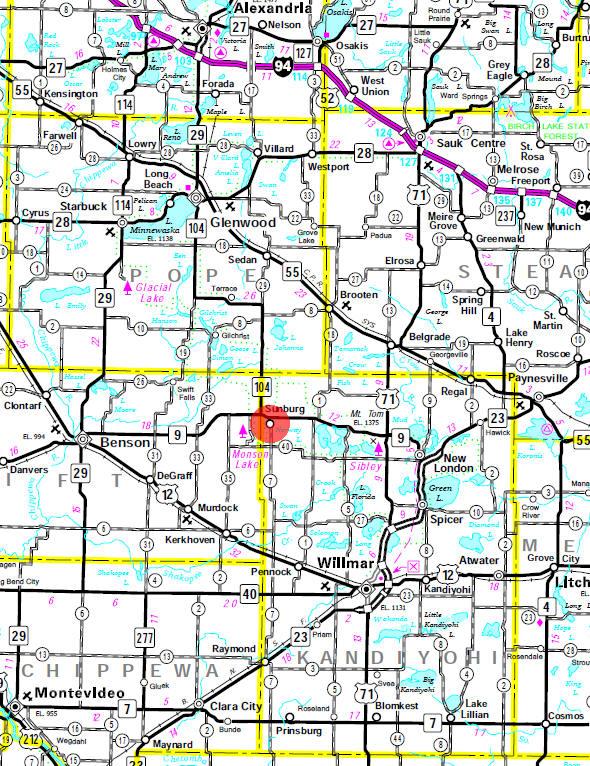 Minnesota State Highway Map of the Sunburg Minnesota area