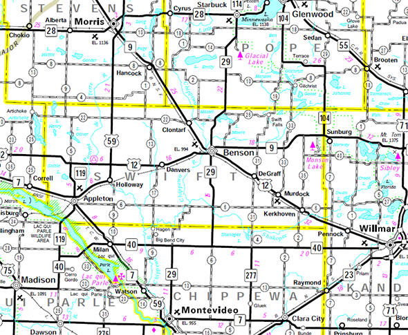 Minnesota State Highway Map of the Swift County Minnesota area
