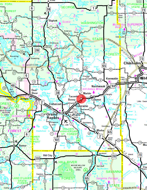 Minnesota State Highway Map of the Taconite Minnesota area