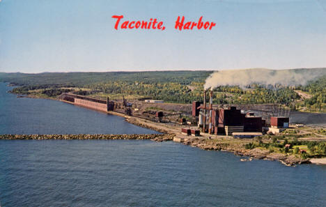 Aerial view of Taconite Harbor, 1960's