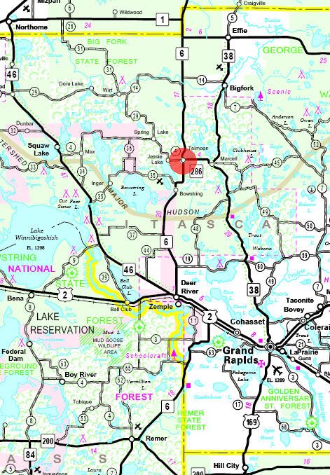 Minnesota State Highway Map of the Talmoon Minnesota area