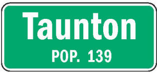 Taunton Minnesota population sign