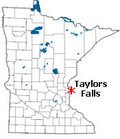 Location of Taylors Falls Minnesota
