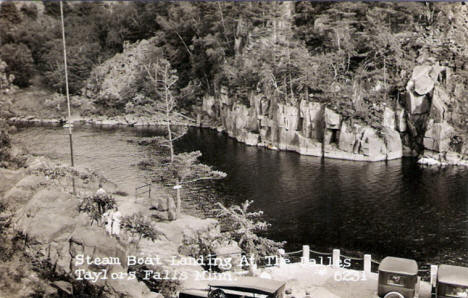 Steam Boat Landing at the Dalles, Taylors Falls Minnesota, 1920's