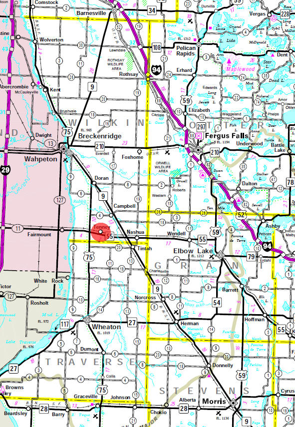 Minnesota State Highway Map of the Tenney Minnesota area