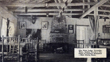 Dining Room at Pike Point Lodge, Tenstrike Minnesota, 1930's?