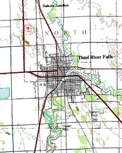 Topographic Map of the Thief River Falls MN area
