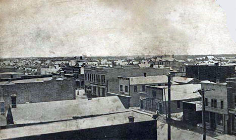 Birds eye view looking northeast from auditorium, Thief River Falls Minnesota, 1908