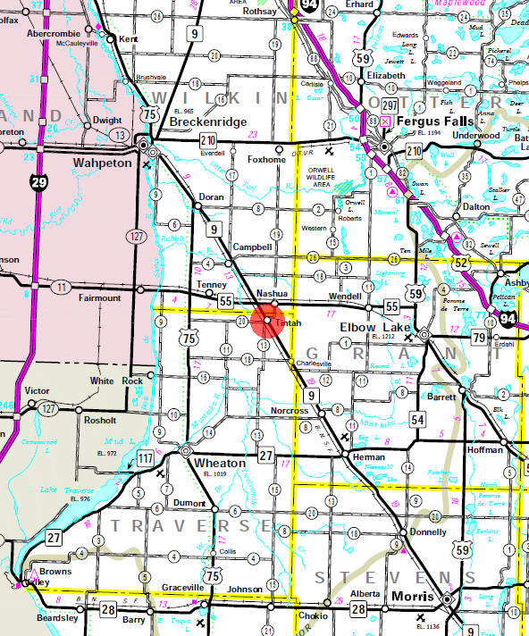Minnesota State Highway Map of the Tintah Minnesota area