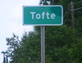 Tofte Minnesota highway sign