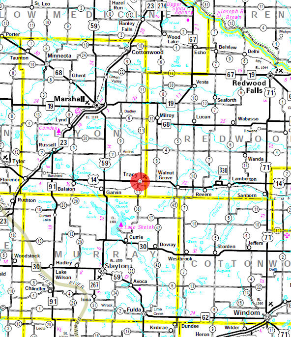 Minnesota State Highway Map of the Tracy Minnesota area