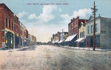 View South on Third Street, Tracy Minnesota, 1908